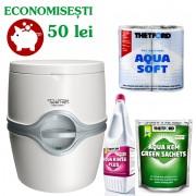 PACHET EXCELLENCE MG12: Toaleta PORTA POTTI EXCELLENCE manual + saculeti dizolvare deseuri + solutie igienizare + hartie