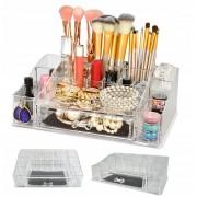 Suport Organizator Transparent pentru Cosmetice si Bijuteri, 16 Compartimente, 1 Sertar