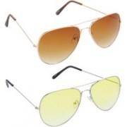 Hrinkar Aviator Sunglasses(Brown, Yellow)
