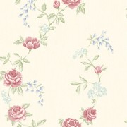 Tapet Shabby Chic Alice Crem - Flori Rosii