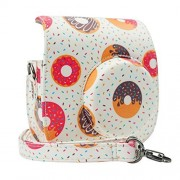 Blummy PU Leather Instax Mini 8 Camera Case for Fujifilm Instax Mini 8/ Mini 8+/ Mini 9 Instant Camera with Adjustable Strap and Pocket (Donuts)