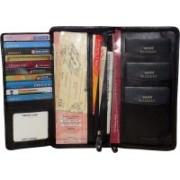 Kan Premium Quality Leather Travel Organizer/Passport Holder/Long Wallet for Men & Women(Black)