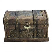 Toyvian 10'' Pirate Treasure Chest with Lock - Wooden Vintage Jewelry Storage Box