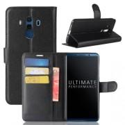 WALLET notesz tok / flip tok - FEKETE - asztali tartó funkciós, oldalra nyíló, rejtett mágneses záródás, bankkártyatartó zseb, szilikon belső - HUAWEI Mate 10 Pro