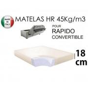 Matelas épaisseur 18 cm pour canapé convertible ouverture RAPIDO, Couchage 120*200 cm