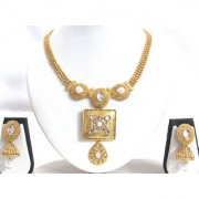 Golden Square Pendant Jhumka Necklace Set