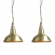 QAZQA Uppsättning av 2 art deco-hängande lampor guld / mässing - Goliat stor