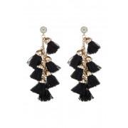Eye Candy Los Angeles Barcelona Tassel Drop Earrings BLACK