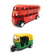 Combo Toys of Double Decker Bus (Mini, Small Size) and Auto Rickshaw Toy for Kids | Pull Back and Go | Red and Green Color | Set of 2 Toys