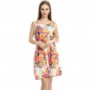 Vestido Chaleco Falda Floral De La Gasa Impresa Falda Sin Mangas - Multicolor 2#