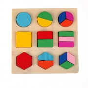 Puzzle - Wooden Geometric Shape Block Puzzles for Children - Learn Math, Shapes & Color Recognition - Early Development Educational Montessori Toys by KARP (Style 1)