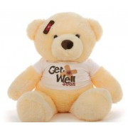2 feet big peach teddy bear wearing a Get Well Soon T-shirt