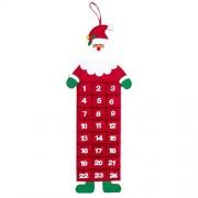 Robelli Festive Felt Christmas Advent Calendars with Pockets (Santa, Reindeer Or Snowman) (Santa)