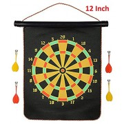 Metro Toys Latest Roll-up Magnetic Dart Board Set Double Sided Hanging Wall Dartboard with Safety Magnet Darts (Small)