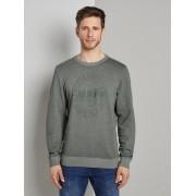 TOM TAILOR Sweater met print, pale bark green white melange, M