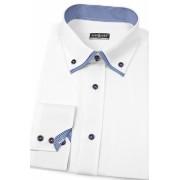 Pánská košile SLIM bílá s elegantní kostkou Avantgard 120-0118-37/38/182