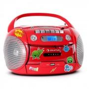 Auna Boomheart Radiocasete portátil CD USB MP3 Pilas Pegatinas