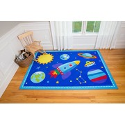 Wildkin Play Rug, Children's 39 x 58 Inch Rug, Durable, Vibrant Colors That Will Last, Perfect for Nurseries, Playrooms, and Classrooms, Ages 3+, Olive Kids Design - Out of This World