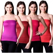 NumBrave Womens Purple Maroon Pink Red Tube Top (Combo of 4)