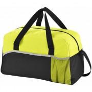 Merkloos Duffel bag/sporttas zwart/groen 43 cm