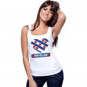 Shoppartners Friesland hart vlag singlet shirt/ tanktop wit dames