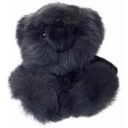 Baby Alpaca Fur Sitting Chubby Bear Hand Made 5+ Inch Gray Each Bear Is Unique