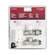 "Set robineti drepti Honeywell 1/2"" (tur termostatat, retur si cap termostatic), alb"