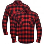 vidaXL 2 db kockás férfi ing méret XL piros-fekete