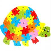 Magideal Set of Wooden Turtle Alphabet Puzzle Brain Teaser Toy Kids Alphabets Color Educational Gift Multicolor
