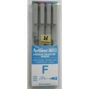 OHP Non-Permanent marker ARTLINE 803 varf mediu - 0.5mm 4 culori-set - BK.RE.BL.GR