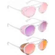 NuVew Round, Shield Sunglasses(Pink, Violet, Red, Golden)