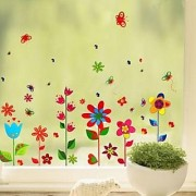 Walltola Pvc Colorful Fun Flowers Wall Sticker