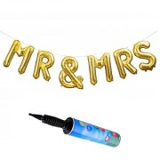 De-Ultimate Set Of Inflator Balloons Air Pump MR And MRS Letters Foil Balloons For Weddings Engagement Party Decorations