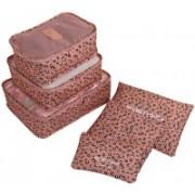 Kids Mandi 6 in 1 Travel Pattern Pouch   Nylon Mesh Luggage Storage Bag   Laundry Zipper Organizer(Tan)