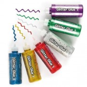Baker Ross Glitter Glue - 6 x 120g bottles in assorted colours- red, gold, silver, green, blue, purple. Easy to use bottle with fine nozzle for detailed work.