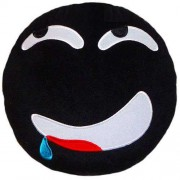 Soft Smiley Emoticon Black Round Cushion Pillow Stuffed Plush Toy Doll (Yummy Yum)