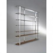 "Biblioteca din aluminiu su furnir ""Kaze"" Nature / White, l240xA34xH194 cm"