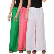 Culture the Dignity Women's Rayon Solid Palazzo Pants Palazzo Trousers Combo of 3 - Green - Baby Pink - White - C_RPZ_GP2W - Pack of 3 - Free Size