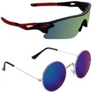 Zyaden Combo of 2 Sunglasses Sport and Round Sunglasses- COMBO 2737