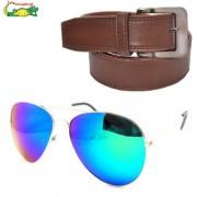 Elligator Reflected Aviator Sunglasses With Brown Belt