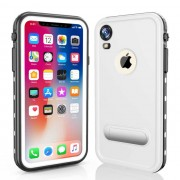 REDPEPPER Dot+ Series Dustproof Snowproof IP68 Waterproof Cover with Kickstand for iPhone XR 6.1 inch - White