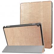 Voor Huawei MediaPad M3 Lite 10 Custer textuur horizontale Flip lederen draagtas met 3-vouwen houder & slaap / Wake-up(Gold)