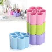 4 Colors Makeup Case Holder Display Stand Plastic Cosmetic Storage Box Brushes Organizer