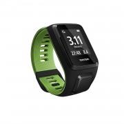 TomTom Runner 3 Music plus Headphones Large Strap - GPS смарт часовник с вграден музикален плейър и безжични спортни слушалки (черен-зелен)