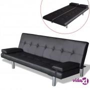 vidaXL Sofa Krevet od Umjetne Kože s Dva Jastuka Podesiva Crna