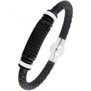 Punk Black Curb High Quality Braided 100 Genuine Leather 316L Stainless Steel Wrist Band Bracelet Men