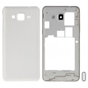 iPartsBuy for Samsung Galaxy Grand Prime / G530 (Dual SIM Card Version) Full Housing Cover (Middle Frame Bazel + Battery Back Cover) + Home Button(White)