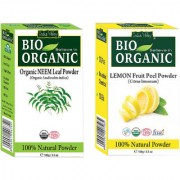 Indus valley Bio Organic Lemon Peel + Neem Powder Combo-Set of 2