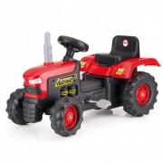 Tractor de jucarie pentru exterior cu pedale, claxon si spatar Dolu Rosu