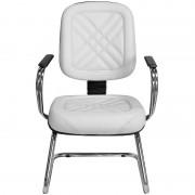 Cadeira Diretor Branca Costura Preta para Recepções e Clínicas - Pethiflex